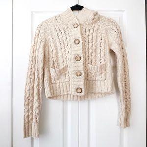 Free People Wool Blend Chunky Knit Hood Cardigan